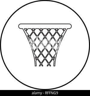 Basketball basket Streetball net basket icon black color outline vector I flat style simple image in circle round - Stock Photo