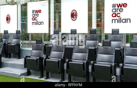 VIP tribune. Visiting San Siro arena. Milan, Itally - Stock Photo
