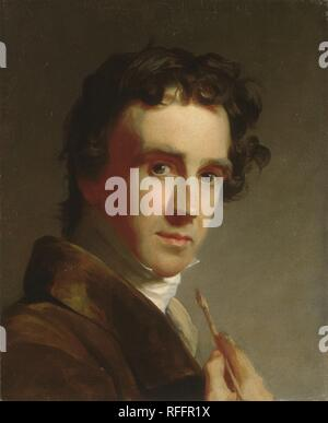 Portrait of the Artist. Artist: Thomas Sully (American, Horncastle, Lincolnshire 1783-1872 Philadelphia, Pennsylvania). Dimensions: 17 1/8 x 14 in. (43.5 x 35.6 cm). Date: 1821.  The English-born Philadelphian Thomas Sully painted this self-portrait for his host in Baltimore, Maryland, the broker Henry Robinson. The artist is shown interrupted at his work, with the primary tool of his profession pointed at his sharply lit head. This paintbrush device is common in artists' self-portraits, and Sully is thought to have adapted it from a similar work by Benjamin West, with whom he had studied in L - Stock Photo