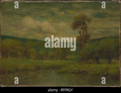 Landscape. Artist: George Inness (American, Newburgh, New York 1825-1894 Bridge of Allan, Scotland). Dimensions: 9 x 12 3/4 in. (22.9 x 31.2 cm). Date: 1884 or 1889. Museum: Metropolitan Museum of Art, New York, USA. - Stock Photo