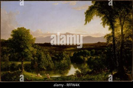 View on the Catskill--Early Autumn. Artist: Thomas Cole (American, Lancashire 1801-1848 Catskill, New York). Dimensions: 39 x 63 in. (99.1 x 160cm). Date: 1836-37.  Cole was enraptured by the mountains, crags, and verdant valleys that rim the Hudson River in upstate New York and spent much of his time at his house near the town of Catskill, on the banks of Catskill Creek. By 1837, however, the landscape no longer resembled this canvas. The Canajoharie and Catskill Railroad was being constructed through its heart, dooming hundreds of trees. Cole, who was also a poet and an essayist, wrote in de - Stock Photo