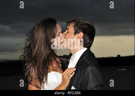 young couple, wedding, love, marriage, Couple on wedding day, two, people, outdoor, happiness, smiling, man, women, - Stock Photo