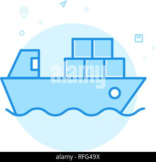 Container Ship Flat Vector Icon. Shipping Symbol, Pictogram, Sign. Light Flat Style. Blue Monochrome Design. Editable Stroke. Adjust Line Weight. Desi - Stock Photo