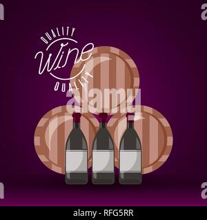 wine wooden barrels and bottles - Stock Photo