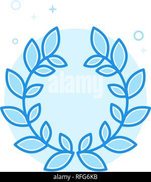 Laurel Wreath Flat Vector Icon. Victory Symbol, Pictogram, Sign. Light Flat Style. Blue Monochrome Design. Editable Stroke. Adjust Line Weight. - Stock Photo