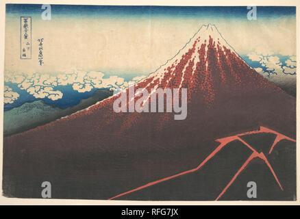 Storm below Mount Fuji (Sanka no haku u), from the series Thirty-six Views of Mount Fuji (Fugaku sanjurokkei). Artist: Katsushika Hokusai (Japanese, Tokyo (Edo) 1760-1849 Tokyo (Edo)). Culture: Japan. Dimensions: 9 3/4 x 14 3/4 in. (24.8 x 37.5 cm). Date: ca. 1830-32. Museum: Metropolitan Museum of Art, New York, USA. - Stock Photo