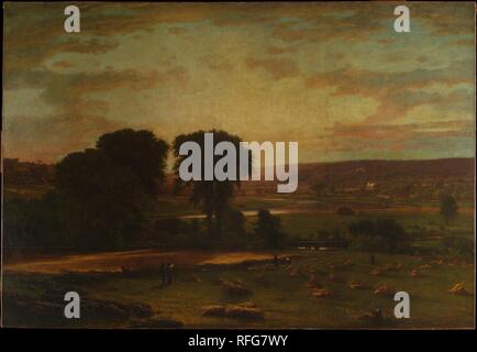 Peace and Plenty. Artist: George Inness (American, Newburgh, New York 1825-1894 Bridge of Allan, Scotland). Dimensions: 77 5/8 x 112 3/8 in. (197.2 x 285.4 cm). Date: 1865.  Painted toward the end of the Civil War, this large composition was intended as a direct challenge to the grandiose, literal style of the Hudson River School painters, such as Frederic Edwin Church and Albert Bierstadt. As opposed to exotic subject matter and technical accuracy, Inness offered an image of suburban farmland imbued with feeling, which he communicated through enriched pigment and softened brushstrokes. The ti - Stock Photo