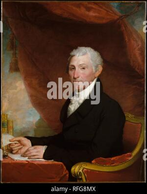 James Monroe. Artist: Gilbert Stuart (American, North Kingston, Rhode Island 1755-1828 Boston, Massachusetts). Dimensions: 40 1/4 x 32 in. (102.2 x 81.3 cm). Date: ca. 1820-22.  The fifth president of the United States, James Monroe, was a Virginian who enjoyed the advantages of being the disciple and political protégé of Thomas Jefferson. Before becoming president, he had held many diplomatic posts, including service as ambassador to France and to England. The year after this picture was completed, he issued the famous Monroe Doctrine, a statement against any intervention from foreign governm - Stock Photo