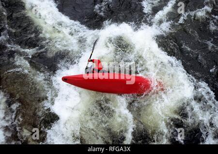 Whitewater kayaking, river Ruhr near Hattingen, North Rhine-Westphalia, Germany - Stock Photo