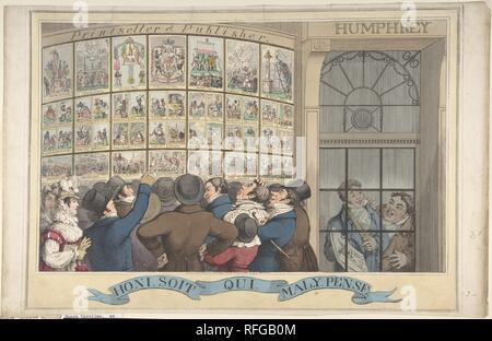 Honi. Soi. Qui. Mal. Y. Pense: The Caricature Shop of G. Humphrey, 27 St. James's Street, London. Artist: Theodore Lane (British, Isleworth ca. 1800-1828 London). Dimensions: plate: 11 13/16 x 16 7/8 in. (30 x 42.8 cm)  sheet: 11 7/8 x 18 9/16 in. (30.2 x 47.2 cm). Publisher: Published London by George Humphrey (British, 1773?-?1831). Date: August 12, 1821.  A crowd of boisterous Londoners is shown inspecting satires critical of Queen Caroline, the estranged wife of the recently crowned King George IV. These are displayed in the bow-front shop window of George Humphrey, a print publisher who i - Stock Photo