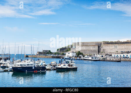2 June 2018: Plymouth, Devon, UK - The harbour and the Royal Citadel. - Stock Photo