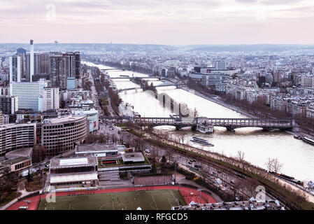 Panoramic view of Paris from Eiffel tower, France - Stock Photo