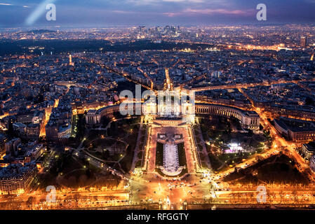 Panoramic view of Trocadéro from Eiffel tower at night, Paris, France - Stock Photo