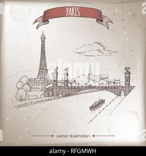 Vintage travel illustration with Eiffel tower and Pont Alexandre bridge in Paris, France. Hand drawn sketch. - Stock Photo