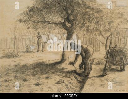 Jean-Franois Millet 1814 - 1875 FRENCH LE JARDINAGE.jpg - RFGRFY  - Stock Photo