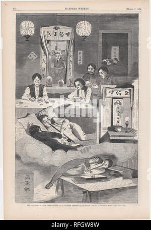 The Chinese in New York - Scene in a Baxter Street Club-House - Drawn by Winslow Homer (Harper's Weekly, Vol. XVIII). Artist: Winslow Homer (American, Boston, Massachusetts 1836-1910 Prouts Neck, Maine). Dimensions: image: 10 7/8 x 9 1/8 in. (27.6 x 23.2 cm)  sheet: 15 13/16 x 10 9/16 in. (40.2 x 26.9 cm). Publisher: Harper's Weekly (American, 1857-1916). Date: March 7, 1874. Museum: Metropolitan Museum of Art, New York, USA. - Stock Photo