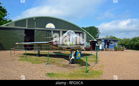 Hawker Hunter FGA.9 Norfolk and Suffolk Aviation Museum, Flixton, Suffolk, UK - Stock Photo