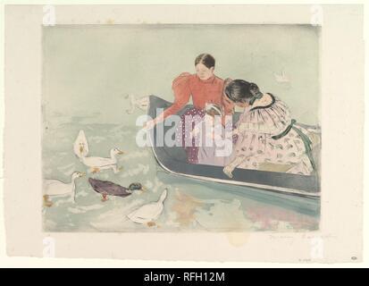 Feeding the Ducks. Artist: Mary Cassatt (American, Pittsburgh, Pennsylvania 1844-1926 Le Mesnil-Théribus, Oise). Dimensions: plate: 11 11/16 x 15 3/4 in. (29.7 x 40 cm)  sheet: 14 1/2 x 20 in. (36.8 x 50.8 cm). Date: ca. 1894. Museum: Metropolitan Museum of Art, New York, USA. - Stock Photo