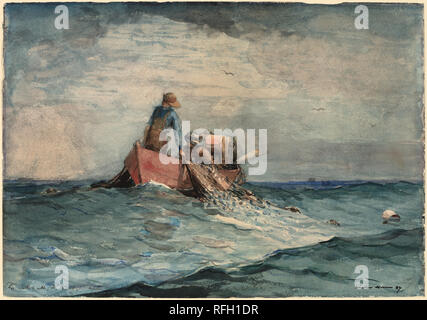 Hauling in the Nets. Dated: 1887. Dimensions: sheet: 35.6 × 50.8 cm (14 × 20 in.). Medium: watercolor over graphite on wove paper. Museum: National Gallery of Art, Washington DC. Author: Winslow Homer. - Stock Photo