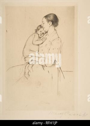 Quietude. Artist: Mary Cassatt (American, Pittsburgh, Pennsylvania 1844-1926 Le Mesnil-Théribus, Oise). Dimensions: plate: 10 3/16 x 7 in. (25.9 x 17.8 cm)  sheet: 15 1/16 x 11 in. (38.3 x 27.9 cm). Date: ca. 1891. Museum: Metropolitan Museum of Art, New York, USA. - Stock Photo