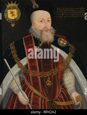 Robert Dudley, Earl of Leicester. Date/Period: Ca. 1587. Painting. Oil on panel. Height: 813 mm (32 in); Width: 648 mm (25.51 in). Author: UNKNOWN ARTIST. - Stock Photo