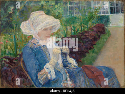 Lydia Crocheting in the Garden at Marly. Artist: Mary Cassatt (American, Pittsburgh, Pennsylvania 1844-1926 Le Mesnil-Théribus, Oise). Dimensions: 25 13/16 x 36 7/16 in. (65.6 x 92.6 cm). Date: 1880.  Cassatt and her family spent the summer of 1880 at Marly-le-Roi, about ten miles west of Paris. Ignoring the village's historic landmarks in her art, Cassatt focused instead on the domestic environment. Here, she portrayed her elder sister, Lydia, fashionably dressed and insulated by a walled garden from any modern hurly-burly. Lydia is absorbed in the sort of old-fashioned handicraft that was in - Stock Photo