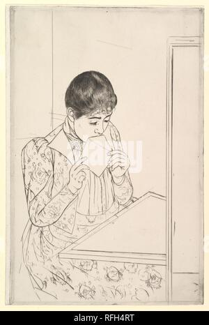 The Letter. Artist: Mary Cassatt (American, Pittsburgh, Pennsylvania 1844-1926 Le Mesnil-Théribus, Oise). Dimensions: plate: 13 9/16 x 8 15/16 in. (34.4 x 22.7 cm)  sheet: 13 5/8 x 9 1/8 in. (34.6 x 23.2 cm). Date: 1890-91. Museum: Metropolitan Museum of Art, New York, USA. - Stock Photo