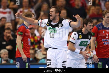 Hamburg, Deutschland. 25th Jan, 2019. firo: 25.01.2019, Handball: World Cup World Cup Semi Finals Semi Final Germany - Norway 25:31 gesture, Fabian Bohm | usage worldwide Credit: dpa/Alamy Live News - Stock Photo