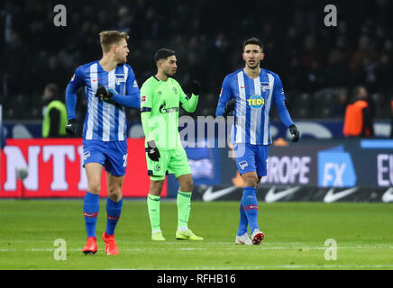 Berlin, Germany. 25th Jan, 2019. Hertha's Marko Grujic (R) celebrates during a German Bundesliga match between Hertha BSC and FC Schalke 04, in Berlin, Germany, on Jan. 25, 2019. The match ended 2-2. Credit: Shan Yuqi/Xinhua/Alamy Live News - Stock Photo