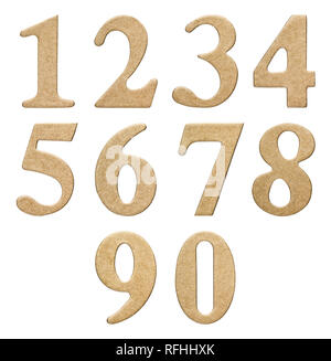 Set of arabic numbers from cardboard, isolated on white background - Stock Photo