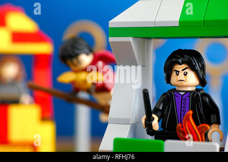 Tambov, Russian Federation - January 20, 2019 Quidditch Match Lego Harry Potter play set. Professor Snape minifigure on Slytherin house tower. - Stock Photo