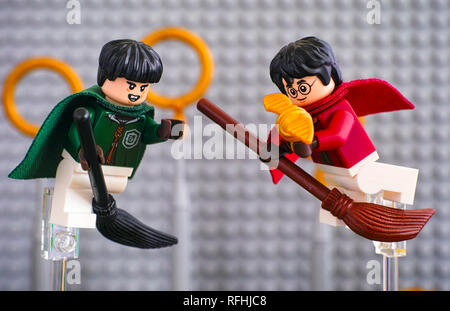 Tambov, Russian Federation - January 20, 2019 Quidditch Match Lego Harry Potter play set. Marcus Flint and Harry Potter on broom captured the Golden S - Stock Photo