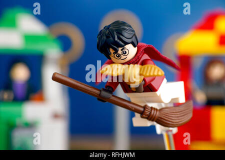 Tambov, Russian Federation - January 20, 2019 Lego Harry Potter on broom captured the Golden Snitch and win the Quidditch Match. Studio shot. - Stock Photo
