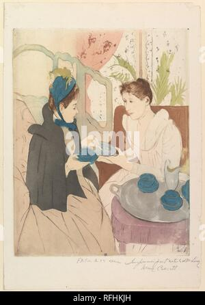 Afternoon Tea Party. Artist: Mary Cassatt (American, Pittsburgh, Pennsylvania 1844-1926 Le Mesnil-Théribus, Oise). Dimensions: plate: 13 5/8 x 10 1/2 in. (34.6 x 26.7 cm)  sheet: 17 1/16 x 11 3/4 in. (43.3 x 29.8 cm). Date: 1890-91. Museum: Metropolitan Museum of Art, New York, USA. - Stock Photo