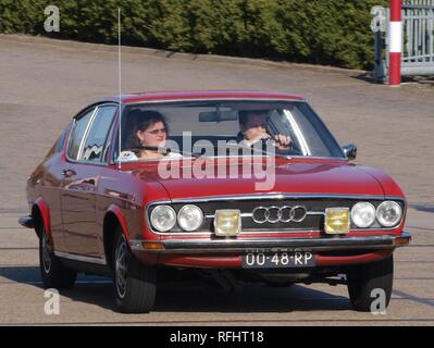 Audi 100 Coupe S, build in 1977, Dutch licence registration 00-48-RP, at IJmuiden, The Netherlands, pic3. - Stock Photo