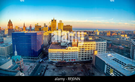 Panoramic view from on high above Milwaulkee looking towards Lake Michigan - Stock Photo