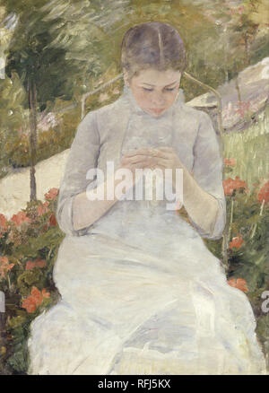 Jeune fille au jardin Girl in the Garden. Date/Period: 1880 - 1882. Painting. Oil on canvas. Height: 920 mm (36.22 in); Width: 650 mm (25.59 in). Author: Mary Cassatt. CASSATT, MARY. CASSAT, MARY. - Stock Photo