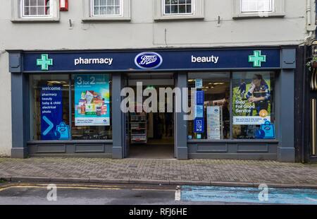 boots pharmacy shop front on bandon high street ireland - Stock Photo