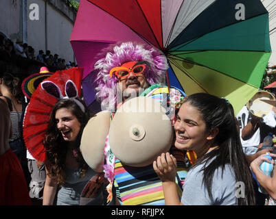 Rio de Janeiro, February 14, 2016. The Revelers play during the Monobloco parade, during the street carnival of the city of Rio de Janeiro, Brazil - Stock Photo