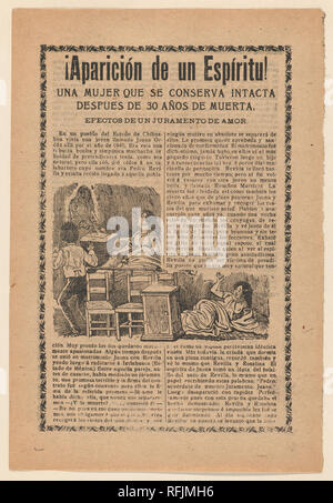 Broadside relating to a news story about an apparition of a spirit, women sitting up in bed looking at a ghost. Artist: José Guadalupe Posada (Mexican, 1851-1913). Dimensions: Sheet: 7 7/8 × 11 13/16 in. (20 × 30 cm). Publisher: Antonio Vanegas Arroyo (1850-1917, Mexican). Date: ca. 1900-1913. Museum: Metropolitan Museum of Art, New York, USA. - Stock Photo