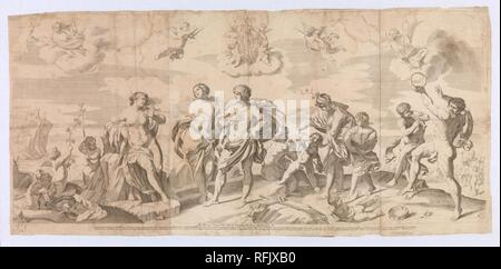 Bacchus with his companions discovering Ariadne on the island of Naxos, after Reni MET DP-12571-001. - Stock Photo