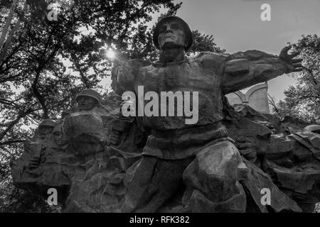 World War II memorial, 1975, BW, Panfilov Park, Almaty, Kazakhstan - Stock Photo
