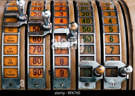 Close-Up Of Antique Cash Register Machine - Stock Photo