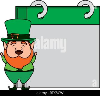 st patricks day leprechaun with calendar - Stock Photo