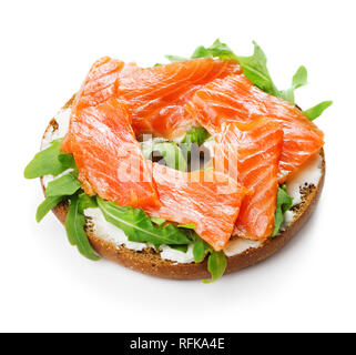 bagel sandwich with salmon and cheese cream isolated on white background - Stock Photo
