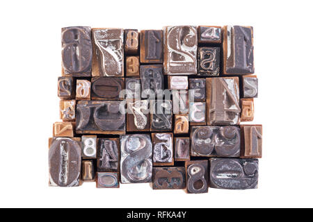 Old wooden block numbers isolated on white background - Stock Photo