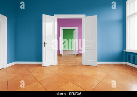 empty flat, apartment rooms with fresh painted colorful walls - Stock Photo