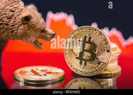 Bitcoin with a red chart drop. Price crash and bear market trend concept. - Stock Photo