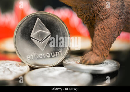 Ethereum with a red chart drop. Price crash and bear market trend concept. - Stock Photo