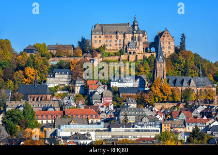 Marburg an der Lahn historical Old Town with castle Landgrafenschloss, St. Elizabeth church and medieval colorful half-timbered houses, Germany - Stock Photo